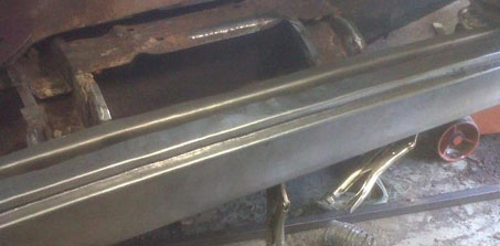 fabricating swage welded into place on 54 Chevy Kustom